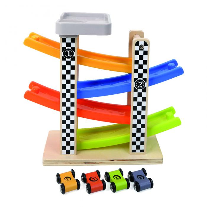 Wooden racing track toy